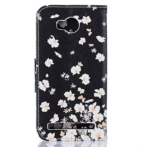 Etui Huawei Y5II , Anfire Fleur et Papillon Motif Peint Mode PU Cuir Étui Coque pour Huawei Y5 2 Huawei Honor 5 Huawei Honor Play 5 Huawei Honor 5 Play (5.0 pouces) Housse de Protection Luxe Style Liv Fleur Blanc