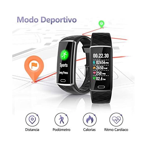 LOZAYI Pulsera de Actividad, Pulsera Actividad Inteligente, IP67, Reloj Inteligente para Mujer y Hombre, con Pulsómetro… 4