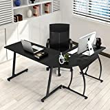 Coavas Computer Office Desk L-Shaped Wood Corner Desk Table Large PC Gaming Desk Study Desk Workstation Home Office 148x112x74 cm Black