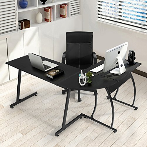 Coavas Black High fredda splicing tipo di computer desk Soreno 3-Piece angolo scrivania
