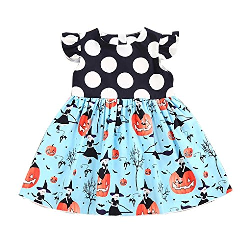 loween Cartoon Cartoon Print Kleid,Kleinkind Kinder Baby Mädchen Halloween Kürbis Karikatur Prinzessin Kleid Outfits Kleidung (90) (Beängstigend Prinzessin Kostüme)