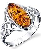 Damen Sterling Silber Baltischen Bernstein Keltischer Entwurf Ring Mit Multi Farbe, Bequemlichkeit Passen Größe 57