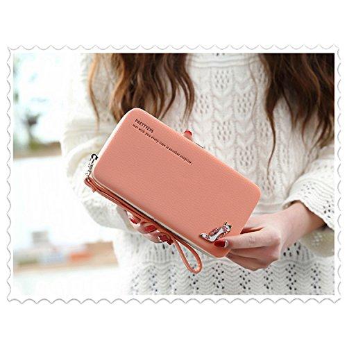 """Le donne Cute bowknot borsa solida borsa Portafoglio Wearable, Sunroyal Multifunzionale [Grande capacità] Smartphone Wristlet Custodia Case Cover per LG K10 2017 (5.3""""), LG K8 2017 (5.0""""), LG K4 2017  Modello 16"""