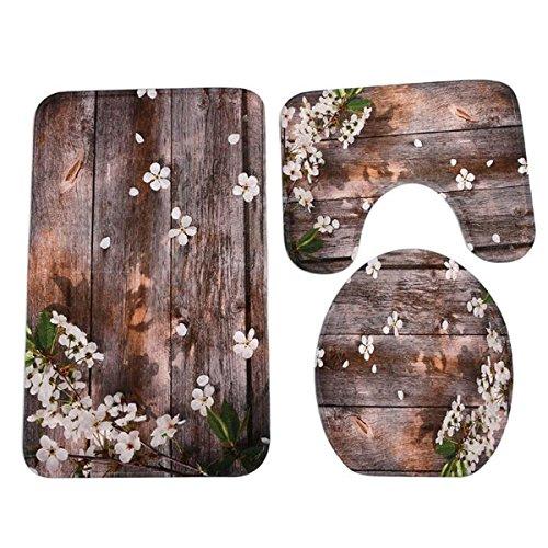 ZHIHUI 3 Stück Badezimmer Teppich Mat Set Holz Streifen Blumenmuster Rutschfeste Wc Kontur Deckel (Sockel Set Esstisch Holz)