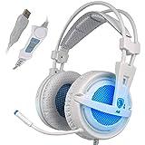 SADES A6 USB PC Gaming Headset son surround 7.1 Stéréo Casque Gaming Plus oreille antibruit Isoler avec contrôle de volume du microphone respiration lumières LED pour PC Gamer (Blanc / Bleu)