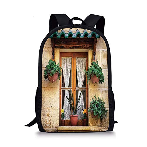 School Bags Shutters,Basket of Flowers Historic Building Window with Classic Lace Curtain Inside Image,Beige Green for Boys&Girls Mens Sport Daypack Lace Boys Oxford