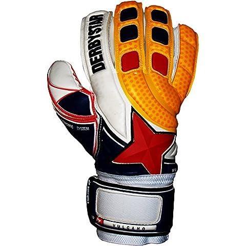 Derbystar–Vulcano guanti da portiere da uomo, Uomo, Vulcano, Weiß/Orange/Blau, 8.5