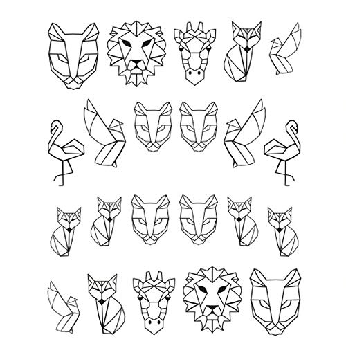 EROSPA® Nailart Nail-Tattoo Tierisch Löwe Giraffe Fuchs Vögel Flamingo Motiv - Nagel Sticker - Aufkleber - 24 Motive - Selbstklebend -