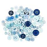 Farbige Knöpfe, 30 g, Ø 9-18 mm | Knöpfe in verschiedenen Formen zum Aufnähen, Aufkleben, Basteln | Spielzeug, Kleidung, Textilien, Kartenverzierung, Scrapbooking, Nähen, DIY (Blautöne)