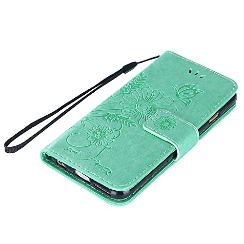 "MOONCASE iPhone 6/iPhone 6s Coque, [Embossed Pattern] PU Cuir Flip Portefeuille Housse pour iPhone 6/iPhone 6s 4.7"" Durable Armure Anti-choc Protection Etui Case Bleu Vert"