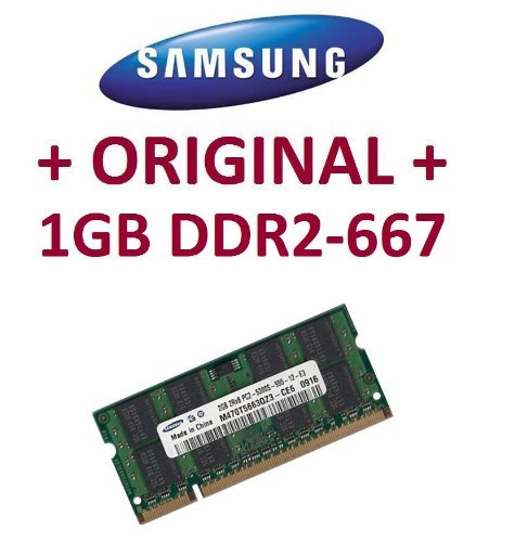 Samsung original SO-DDR2 1 GB 200 pin DDR2-667 (PC2-5300) 64Mx16x8 double side (M470T2864QZ3-CE6) (1 Gb Pc2-4200 Ddr2 533 Mhz Notebook-speicher-modul)