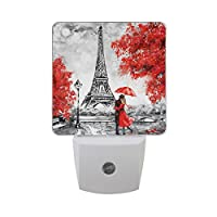 ALAZA Set of 2 Paris Eiffel Tower Couple Under Red Umbrella Maple Leaf European City Landscape France Nightlight Auto Sensor LED Dusk to Dawn Night Light Plug in Indoor for Adults Lights