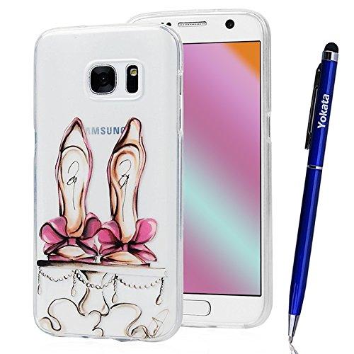 Für Samsung Galaxy S7 Cover, Yokata Transparent Comic Motiv TPU Soft Case mit Weich Silikon Bumper Crystal Clear Klar Schutzhülle Durchsichtig Dünne Case Hülle + 1 X Stylus Pen - (High Kitty Heels Hello Schuhe)