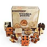 Joyeee 9 Piezas Cubo 3D Rompecabezas de Madera Juego Puzle #2 - Desafiar su Pensamiento lógico - Ideal Regalo y Decoración