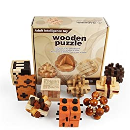 Joyeee 9 Pezzi Legno Rompicapo Torsione Cube Puzzle Game 3D – Gioco di Mente Cubo