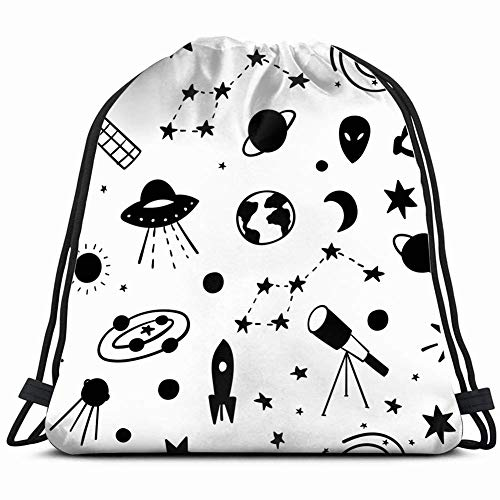 DHNKW Cosmos Space Astronomy Simple patternastrology 3D Print Drawstring Backpack Rucksack Shoulder Bags Gym Bag 17X14 Inch
