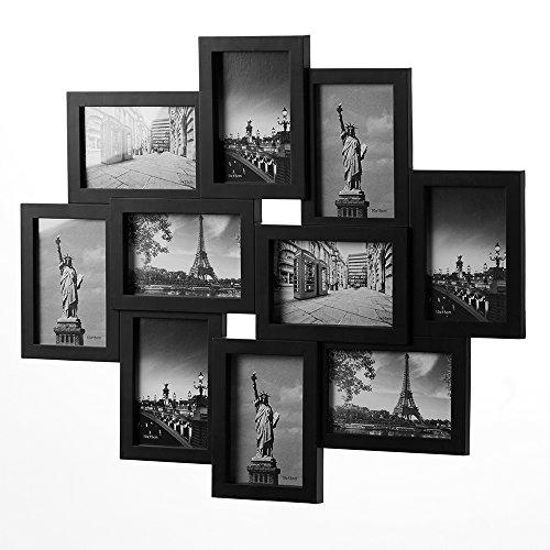 Bilderrahmen Collage Bildergalerie Wandgalerie Fotorahmen für 10 Fotos 10 x 15 cm - Farbe schwarz