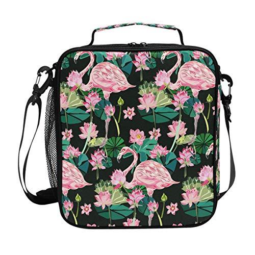 Pink Flamingos Tropische Lunchtasche Essen Prep Lunchbox Kühler Schultergurt für Männer Frauen Kinder Jungen Mädchen groß isoliert Tasche Picknick Schule Büro -