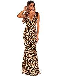 Nuevo Negro y dorado Largo de lentejuelas vestido de noche vestido de cóctel fiesta Prom Vestido Party Wear vestidos de novia (tamaño L UK 12
