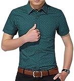 AIYINO Herren Kurzarm Hemd Slim Fit Baumwolle Casual Shirts 4 Farben zur Auswahl S-XL (Medium, Grün)