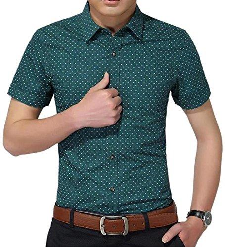 AIYINO Herren Kurzarm Hemd Slim Fit Baumwolle Casual Shirts 4 Farben zur Auswahl S-XL (Large, Grün)
