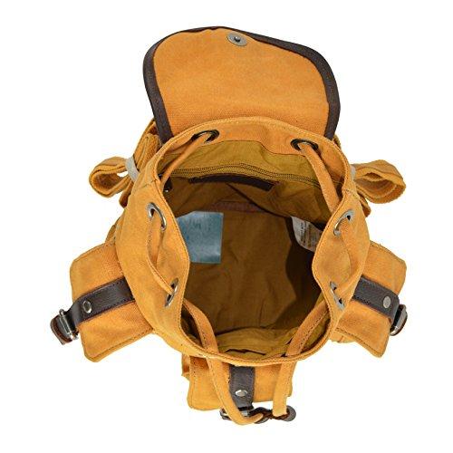 CTM Zaino Uomo Donna a sacca in tela con cinghie regolabili, dettagli in vera pelle 19x19x13 cm Cuoio