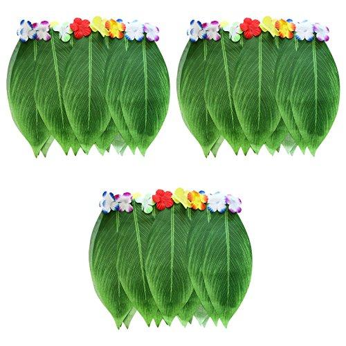 Blatt Hula Rock 3er-Set - Hawaiianischer Grüner Blätter Grasrock mit Künstlichen Hibiskus-Blüten für Strand, Grill Cosplay und Luau Party Zubehör - Hawaii Röcke im Bananenblatt Stil - Hawaii Rock Outfit, Hawaii Kostüm für Fasching, Halloween