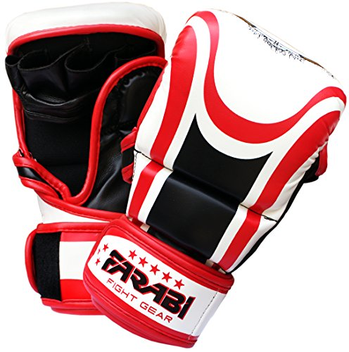 Farabi Hybrid semi pro MMA Gloves training sparring grappling gloves 7Oz (Large)