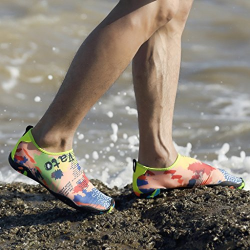 Laiwodun Uomo Donna Scarpe Acqua Scarpe Aqua Quick Dry A piedi nudi Calzature Subacquee Swim Diving con 14 fili di drenaggio color-7