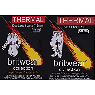 Britwear Kids Official Thermal Winter Warm Underwear Full Set Long John Bottom and Long Sleeve Top 12