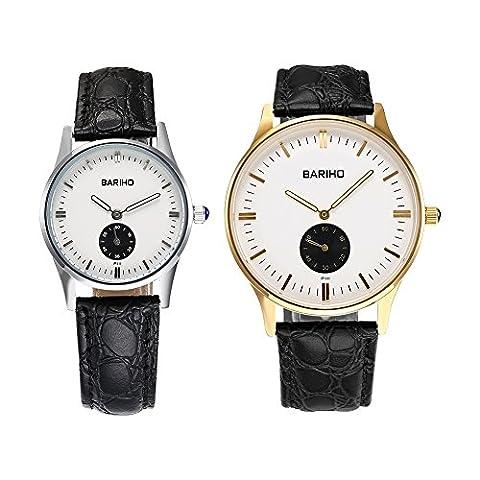 Hongboom véritable de bande de cuir montre bracelet Homme Femme décontracté analogique à quartz Couples Montre-bracelet étanche jusqu'à