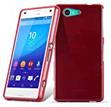 Cadorabo DE-105116 Sony Xperia Z3 COMPACT Handyhülle aus TPU Silikon in gebürsteter Edelstahloptik (Brushed) Rot