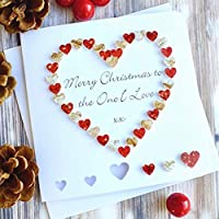 Handmade 'To The One I Love' Merry Christmas Card, Wife Husband Girlfriend Boyfriend Red Gold Heart