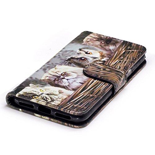Custodia Cover iPhone 7/8,Ukayfe Flip Cover Wallet Case Custodia per iPhone 7/8 in pelle PU,iPhone 7/8 Lussuosa Astuccio Custodia Cover [PU Leather] [Shock-Absorption] Protettiva Portafoglio Cover Cus Gattino 2#