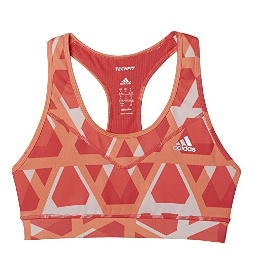 adidas Damen Sport-BH Techfit Triax-Print T-Shirt, Rot/Orange/Weiß, XS - Adidas Hose Frauen Yoga
