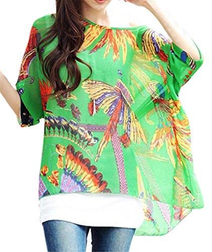 T-shirt Hippie - BienBien Chemisier Femme Manche 3 4 Imprime Tunique Boheme Chic Grande Taille Chiffon B8