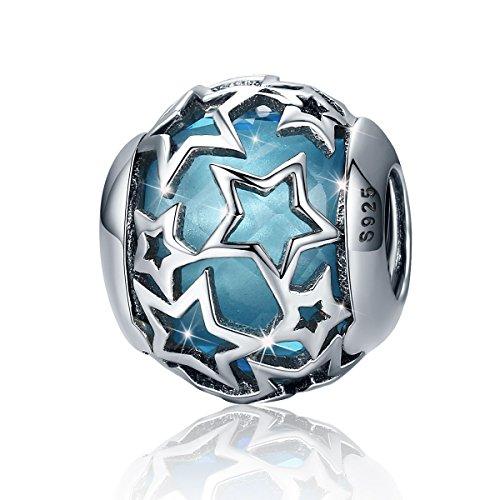 Star Charm Anhänger 925 Sterling Silber Blau Glas Bead Schmuck für Frauen Armband Halskette (Stern Charm Für Pandora Armband)