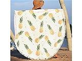 kxrzu Funny Ananas Fresh Mustern rund Strandtuch, bedruckt mit Quasten Super Wasser absorbierenden Casual Style-Handtuch, weiches Mikrofaser Decke (150x 150cm)