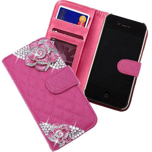 Xtra-funky esclusivo custodia con raccoglitore stile ecopelle trapuntato borsa con 2 bei cristallo incrostato roses per iphone 4 / 4s - rosa caldo