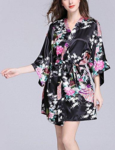 Lannorn Damen 12 Farben Morgenmantel Kimono aus Satin Seide Robes Kurz Pfau und Blüten Nachtwäsche Bademäntel S-XL Schwarz