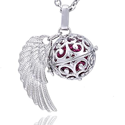 Morella Damen Schutzengel Halskette Edelstahl 70 cm mit Anhänger Engelsflügel und Klangkugel Zirkonia in Schmuckbeutel