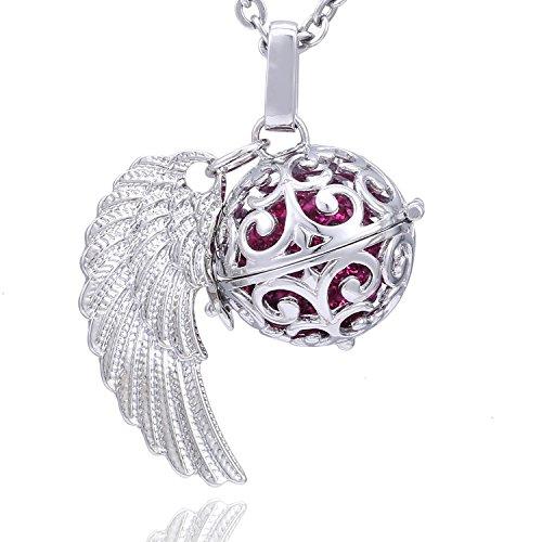 Morella Damen Schutzengel Halskette Edelstahl 70 cm mit Anhänger Engelsflügel und Klangkugel Zirkonia pink Ø 16 mm in Schmuckbeutel