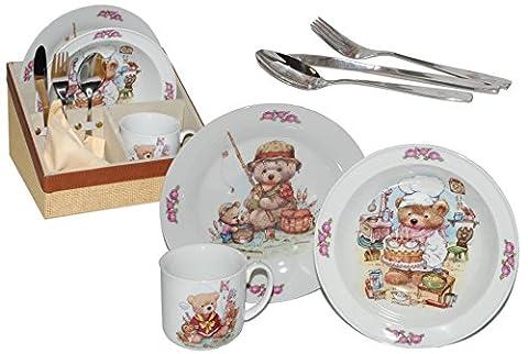8 tlg. Geschirrset Porzellan Teddy Teddys - Keramik Tiere Schmetterlinge Kindergeschirr Kinderservice Reutter