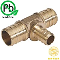 PEX 3/4 x 3/4 x 1/2 Barbed Tee - Brass Crimp Fitting Bag of 1 / Brass / .75 x .75 x .5