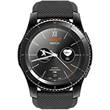 Kivors reloj inteligente, Bluetooth Smartwatch Fitness Rastreador con pantalla táctil/podómetro para Android & iOS teléfono inteligente (Negro)