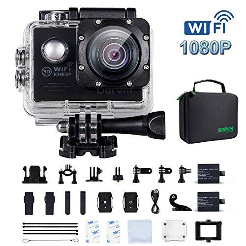 Action Cam Wifi 1080P FHD digital Unterwasserkamera 170° Weitwinkel,2 1050mAh Akkus Helmkamera für Fahrrad,Kinder,Motorrad,Auto,Helm,Drohne, Kopf, Unterwasser, Schwimmen, Surfen, Tauchen