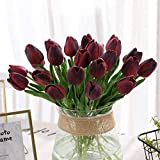 Jun7L Künstliche Blumen Gefälschte Blume Tulpe Latex Material Real Touch für Hochzeitszimmer Home Hotel Party Dekoration und DIY Decor10Pcs Rot B 33.5x5cm