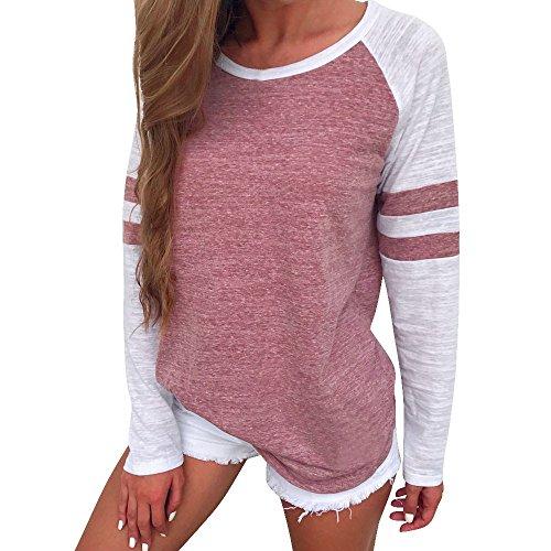 Damen Bluse ❤DEELIN New Arrival Design Mode Elegante Frauen Damen Langarm Splice Bluse Tops Kleidung T-Shirt (M, Rot) (Top Polyester-bluse)