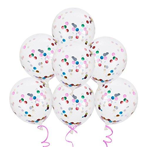 Lictin 15pcs Konfetti Luftballons gefüllte Transparente Ballons für Halloween, Weihnachten, Geburtstagsfeiern, Party, Hochzeitsfeiern - Glitzer Luftballons Mit