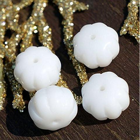 Bianco opaco Vetro ceco Schiacciato Perle di Melone Frutta Zucca 8mm x 11mm 16pcs